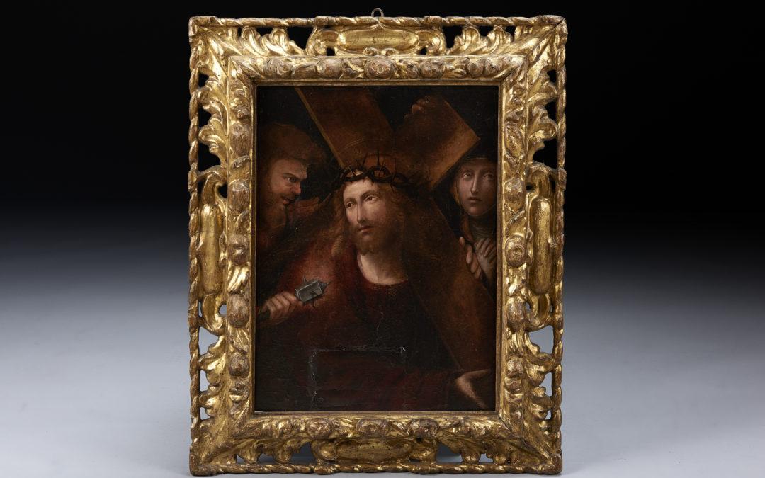 "Dipinto su tavola ""Cristo porta croce"""